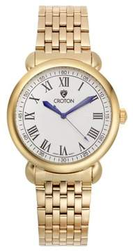 Croton Men's Heritage Goldtone Stainless Bracelet Watch with White Dial