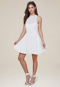 Bebe Mock Neck Fit & Flare Dress