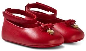 Dolce & Gabbana Red Leather Crib Shoes with Charm