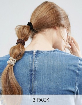 ASOS Limited Edition Pack of 3 Fuzzy Coil Hair Bands