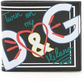 Dolce & Gabbana Graffiti Print Leather Wallet