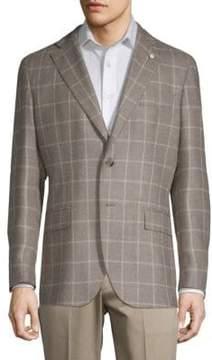 Lubiam Grid Plaid Wool & Silk Sport Coat