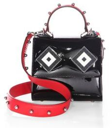 Les Petits Joueurs Baby Alex Mask Sphere-Studded Patent Leather Top Handle Bag