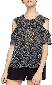 BCBGeneration Ruffled Floral Cold-Shoulder Top