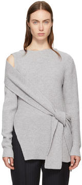 3.1 Phillip Lim Grey Ribbed Cut-Out Shoulder Pullover