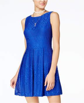 B. Darlin Juniors' Lace Pleated Fit & Flare Dress