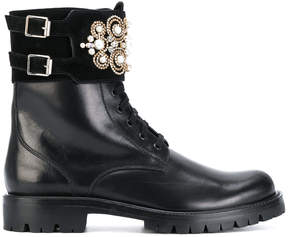 Rene Caovilla appliqué detail buckled boots