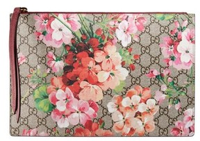 Gucci Gg Blooms Large Canvas & Suede Pouch - Beige - BEIGE - STYLE