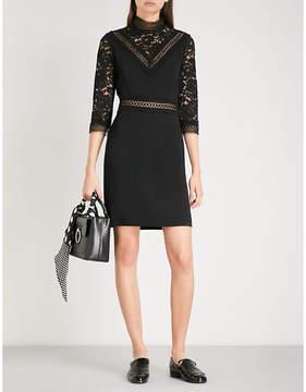 Claudie Pierlot High neck floral-lace and crepe mini dress