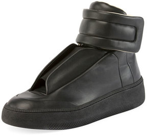 Maison Margiela Future Leather Redux High-Top Sneaker, Black