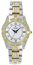 Bulova Ladies Two-Tone Crystal Accented Bracelet Watch