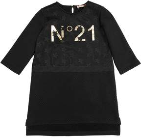 N°21 Cotton Sweatshirt Dress W/ Tulle & Mesh