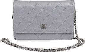 One Kings Lane Vintage Chanel Metallic Silver Wallet on Chain