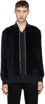 Paul Smith Navy Velvet Bomber Jacket