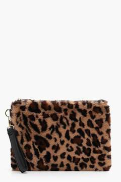 boohoo Ellie Leopard Faux FUr Zip Top Clutch