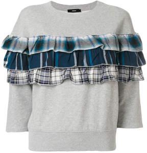 Diesel plaid ruffle detail sweatshirt