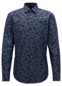 BOSS Hugo Brush-Print Cotton Dress Shirt, Slim Fit Jenno 15 Dark Blue