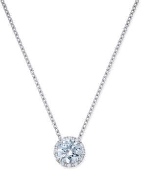 Arabella Swarovski Zirconia Halo Pendant Necklace in Sterling Silver