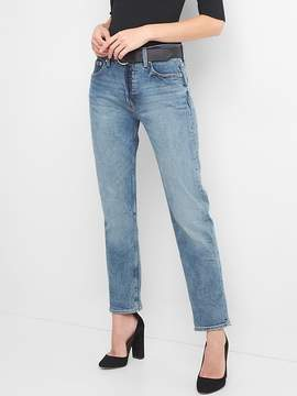 Super High Rise Button-Fly Straight Jeans in Medium Indigo