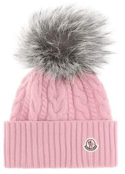 Pink Fur-trimmed wool-blend beanie
