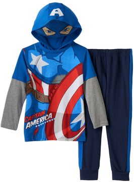 Marvel Toddler Boy Captain America Eye Mask Mock-Layered Hooded Tee & Pants Set