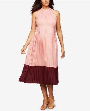 A Pea in the Pod Maternity Colorblocked Pleated Dress