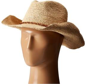 Hat Attack Raffia Crochet Cowboy with Bead Trim Traditional Hats