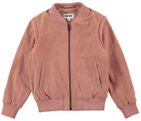 Molo Haliva Velvet Rose Suede Bomber Jacket, Size 4-14