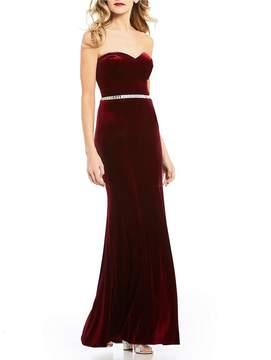 Jodi Kristopher Strapless Velvet Long Dress