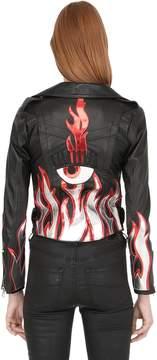 Chiara Ferragni Leather Biker Jacket W/ Flames
