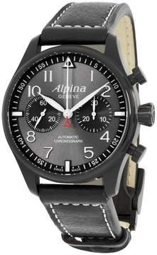 Alpina Startimer Pilot AL860GB4FBS6 Grey Dial Black Leather Strap 44mm Mens Watch