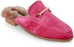 Wild Diva Fuchsia Kaibin Velvet Faux Fur-Lined Loafer Mules
