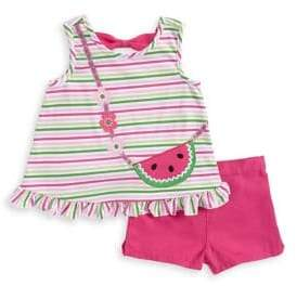 Kids Headquarters Little Girl's Two-Piece Watermelon Top and Shorts Set