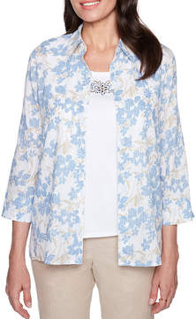 Alfred Dunner Blues Traveler 3/4 Sleeve Two for one Woven Blouse