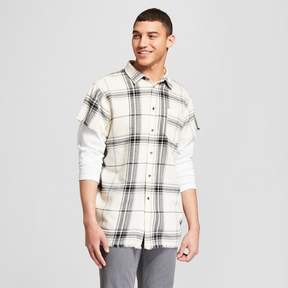 Jackson Men's Plaid Cutoff Layered Flannel Long Sleeve Button-Down Shirt Natural