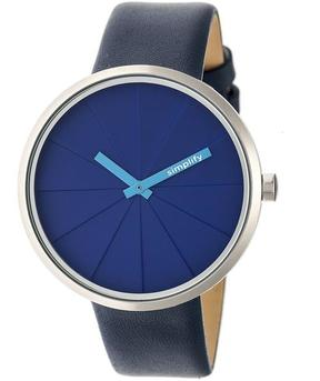 Simplify The 4000 SIM4005 Silver and Navy Leather Analog Watch