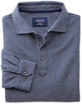 Charles Tyrwhitt Blue and White Birdseye Long Sleeve Cotton Polo Size XXL