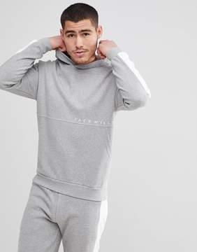 Jack Wills Langley Color Block Hoodie in Gray