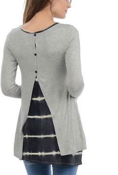 Celeste Heather Gray Tie-Dye Stripe Split-Back Tunic - Women