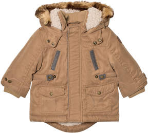 Mayoral Camel Padded Faux Fur Hooded Parka with Teddy Lining