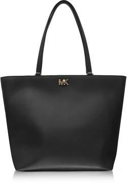 Michael Kors Mott Medium Black Leather Tote Bag - BLACK - STYLE