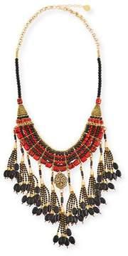 Devon Leigh Red & Black Onyx Tassel Necklace