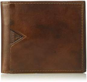 GUESS Men's Leather Billfold Wallet With Zippered Cash Pocket