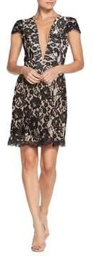 Dress the Population Plunging Lace Mini Sheath Dress