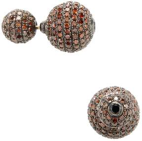 Artisan Women's Brown Diamond Ball Earrings