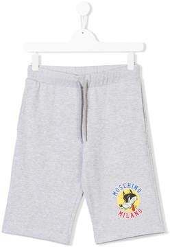 Moschino Kids logo wolf print shorts