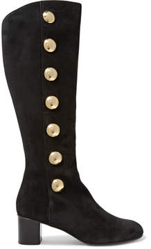 Chloé Orlando Studded Suede Knee Boots - Black