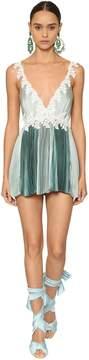Pleated Satin Lace Mini Dress