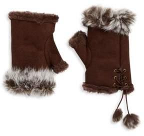 Adrienne Landau Rabbit Fur Lace-Up Fingerless Gloves