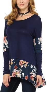 Celeste Navy Floral-Accent Sidetail Tunic - Women